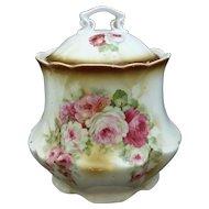 Germany Porcelain Biscuit Barrel Cracker Jar 1900 Transfer Roses