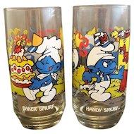Smurfs Glasses Pair Handy Smurf Baker Smurf Peyo 1983