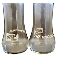 7 Up The Uncola Upside Down Glass Tumblers