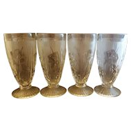 Jeannette Iris & Herringbone Clear 6 1/2 IN Footed Iced Tea Tumblers Set of 3