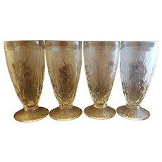 Jeannette Iris & Herringbone Clear 6 1/2 IN Footed Iced Tea Tumblers Set of 4