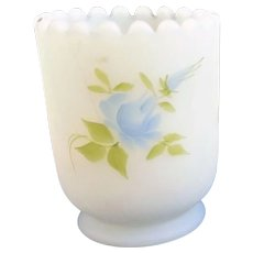 Fenton Custard Glass Blue Rose Hand Painted Toothpick Candle Holder Signed Label