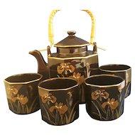 Black Gold Iris Design Porcelain Tea Set Made in Japan