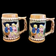 Hand Painted Pottery Steins Matching Pair Japan Medieval Scene
