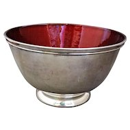 Towle Silver Plate 5001 Red Enamel Revere Bowl