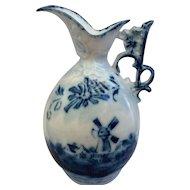 Blue Windmill Delft Style Porcelain Mini Ewer Pitcher