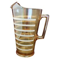 Jeannette Glass Marigold Iridescent Carnival Glass Pitcher White Stripes 48 Oz