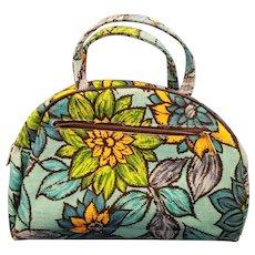 Blue Floral Flower Power Canvas Handbag Purse