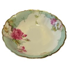 Bavaria Hand Painted Serving Bowl Roses Artist Signed