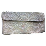 La Regale Sequin Beaded Evening Bag Clutch Cream Pink