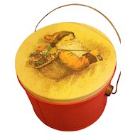 Santa Claus Father Christmas St. Nick Decorated Red Metal Pail Bucket With Lid