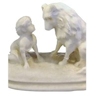 Boy And Dog Molded Salt Statue Figurine