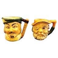 Toby Style Character Mugs Pair Hand Painted Japan Small
