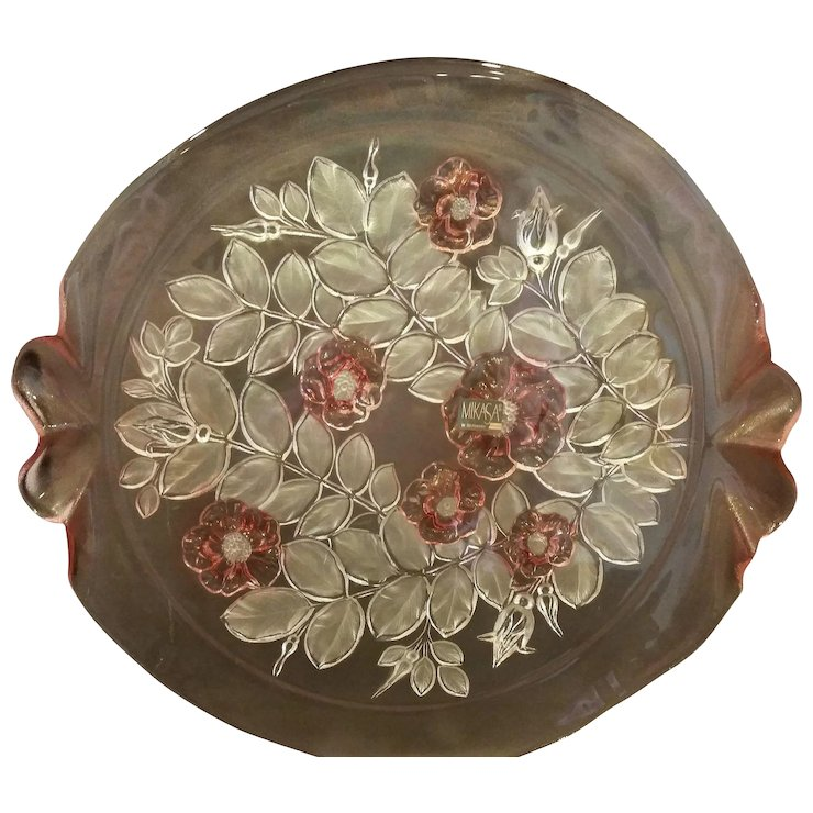 Mikasa Rosella Walther Crystal Germany Pink Flowers Cake Plate Tab ...
