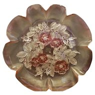 Mikasa Rosella 12 IN Round Platter Walther Crystal Pink Flowers W Germany