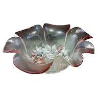 Mikasa Crystal Walther W Germany Rosella Pink Hostess Bowl 11 IN Ruffled Rim