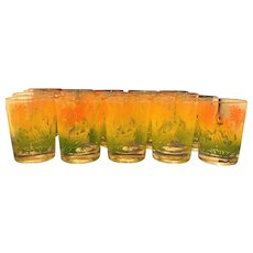 Federal Glass Flower Juice Glasses Set of 20 Orange Yellow Green Swanky Swig - Red Tag Sale Item