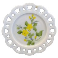 Hazel Atlas Milk Glass Lace Edge Hand Painted Yellow Flowers Plate