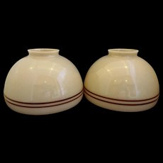 Beige Brown Stripe Glass Student Lamp Shade Pair