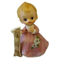 Kelvin Birthday Girl Age 1 Baby Porcelain Bisque Hand Painted Figurine