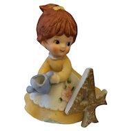 Kelvins Birthday Girl Porcelain Figurine 4 Brown Hair Blue Watering Can