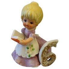 Kelvins Birthday Girl 6 Porcelain Figurine Blond Hair Holding Book