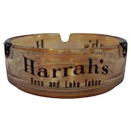 Harrahs Casino Souvenir Ashtray Marigold Carnival Iridescent Glass Reno Lake Tahoe