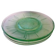 Green Depression Glass Saucers Center Flower Paneled Rim