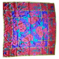 Morgan Taylor Silk Scarf Bright Floral Red Purple Pink Made in Japan 32 IN Square