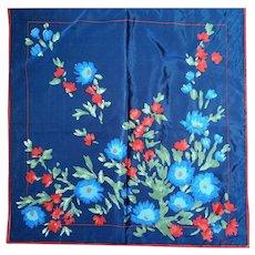 Vera Navy Blue Red Floral Scarf