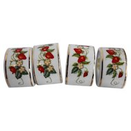 Avon Strawberry Napkin Rings Set of 4 Porcelain