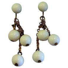 White Plastic Ball Dangle Clip Earrings