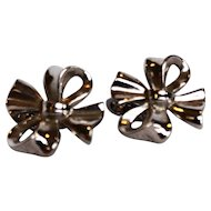 Crown Trifari Silver Tone Bow Earrings Clips