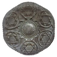 Early American Pattern Glass EAPG Star of David Medallion Fine Cut Cane 10 IN Plate