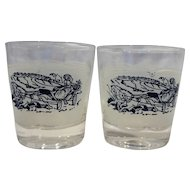 Currier & Ives Blue on White Old Fashioned Glass Tumblers Pair