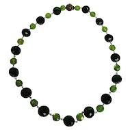 Western Germany Green Lucite Faceted Bead Necklace