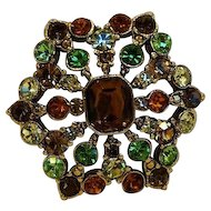 Liz Claiborne Rhinestone Pin Brooch Autumn Fall Colors Amber Green Brown