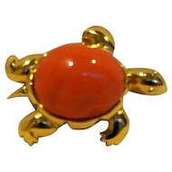 KJL Kenneth Jay Lane Faux Orange Coral Lucite Turtle Pin Pendant
