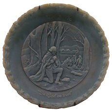 Fenton Blue Glass Bicentennial Plate In God We Trust Washington Valley Forge