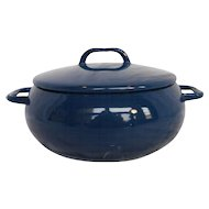 Krenit Denmark Blue Porcelain Enamel on Steel Small Pot With Lid MidCentury Modern