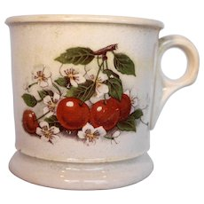 D E McNicol China Clarksburg Shaving Mug Pottery Cherries Decal