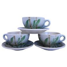 Syracuse Bamboo Restaurant Ware 3 Cups 3 Saucers