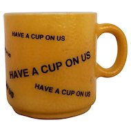 Have A Cup On US Yellow Pebbled Hazel Atlas Small Mug