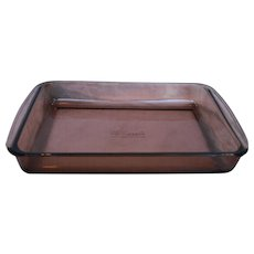 Pyrex Fireside Rectangle Casserole Lasagna Roaster Pan 232 Amber Brown