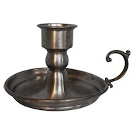 Leonard Pewter Made in Bolivia Chamber Candlestick Candle Holder Finger Lamp