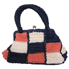 Blue Pink White Color Block Raffia Purse Made in Japan