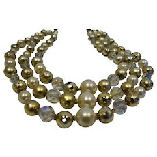 Faux Pearl Faceted Crystal Triple Strand Necklace Gold Tone Ball Nugget Beads