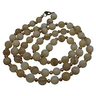 White Brown Striated Agate Beads Necklace