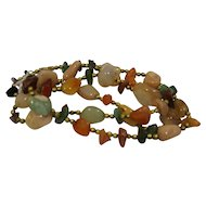 Semi Precious Stones Nugget Beads Mixed Necklace