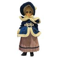 Effanbee Currier Ives Girl Skater 11 IN Doll 1979 Blue Velvet Coat